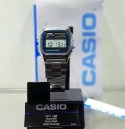 6862f3a7c5a Relógio Casio Unissex A158W Retrô Vintage Prata Original