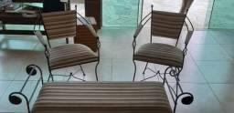 Jogo cadeiras de ferro com namoradeira comprar usado  Curitiba