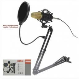 Kit Microfone Condensador Profissional Braço Articulado Pop Filter P2 Lelong LE-914