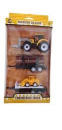 R$39,90 - Kit Trator Carreta com Reboques Brinquedo Veiculo Obras