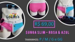 Sunga Slim - Azul e Rosa