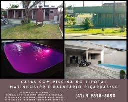 Título do anúncio: Alugo casas com piscina nas praias de Matinhos / PR e Balneário Piçarras / SC.