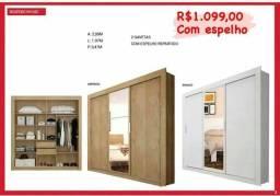 Título do anúncio: GUARDA ROUPA COM ESPELHO E 2 GAVETAS
