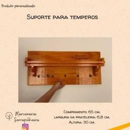 Título do anúncio: Suporte Para temperos e xícaras- Suporte de cozinha ou escritório em madeira Pinus