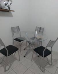 Título do anúncio: Mesa de vidro redondo,4 cadeiras