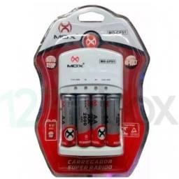 Título do anúncio: Carregador Mox Bi-Volt MO-CP51 Com 4 AA pilhas recarregável