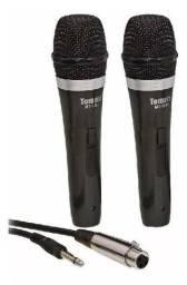 Microfone duplo com cabo tomate