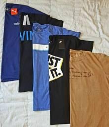 5 camisetas novas de primeira linha