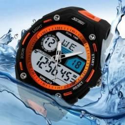 Relógio Skmei 1015 importado esporte, 2 fuso horário,resistente à água