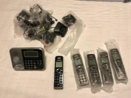 Telefone sem fio panasonic com central (2 linhas) e 4 extensões - novo