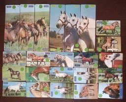 CARTÕES telefonicos montagem cavalos branco e marrom RARIDADE