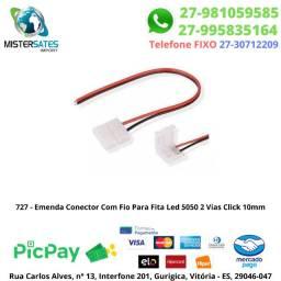 727 - Emenda Conector Com Fio Para Fita Led 5050 2 Vias Click 10mm