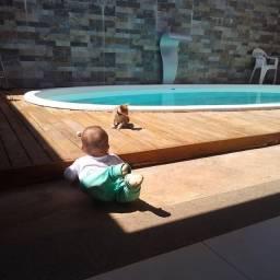 Capa para piscina em deck