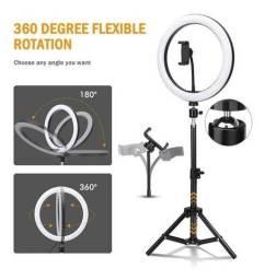Título do anúncio: Mega Promoção Ring Light Led Iluminador 26cm 10 Polegadas Completo 2,1m Tripé 210cm