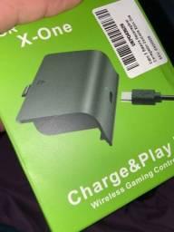 Headset original, cabo de força original do Xbox one e kit de bateria de Manete!