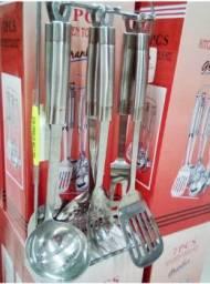 Jogo De Utensílios p/ cozinha 7 Peças De Aço Inox - Granlux
