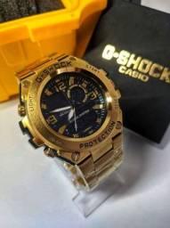 Título do anúncio: Relógio masculino militar G-Shock Metal Tokyo Gold - Pulseira de metal A prova d'agua