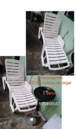 Título do anúncio: Cadeira de pegar sol e banqueta