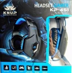 Super Fone De Ouvido Gamer Knup Black E Blue