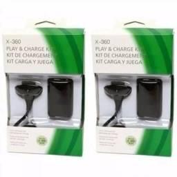 Kit 2 Baterias Carregador Controle Xbox360