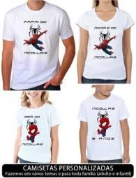 Camiseta para aniversário com estampa personalizada vários temas