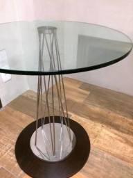 Mesa tampo de cristal redondo