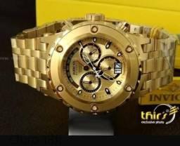 Relógio masculino invicta 100% funcional ouro 18k original fundo cravado promoção