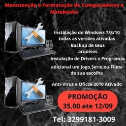 Manutencao e formatacao de pc e notebook por 45,00 com backup