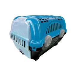 Caixa de transporte azul para gato e cachorro de pequeno porte