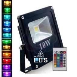 Refletor Led 10w RGB Controle Remoto