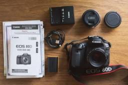 Título do anúncio: Câmera Canon 80D + 2 lentes