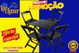 Título do anúncio: Mesa com 4 cadeiras em madeira maciça dobrável. No tamanho de 70 x 70