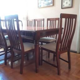 Mesa de Jantar - Mesa de Madeira de Lei com 8 Cadeiras