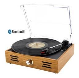 Título do anúncio: Vitrola Toca Discos Vinil Retro Tampa Acrílico E Bluetooth