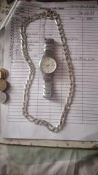 Relógio e corrente de prata
