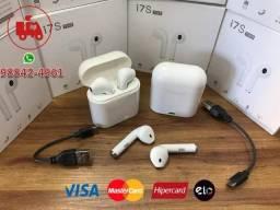 Fone Airpods Bluetooth TWS I7s com carregador portátil