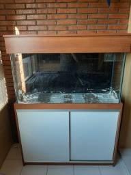 Aquário seminovo com móvel 250L + Acessórios (vidro necessita de reparos)