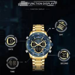 Naviforce masculino relógio de pulso para homem luminoso brilhante ouro relógios