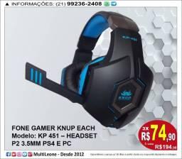 Fone Gamer Knup Each Modelo: KP 451 ? Headset P2 3.5MM PS4 E PC