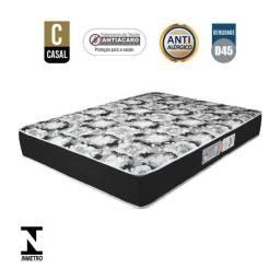 Box Casal + Colchão Luckspuma D45 Gran Luck Black Casal 138x188x20