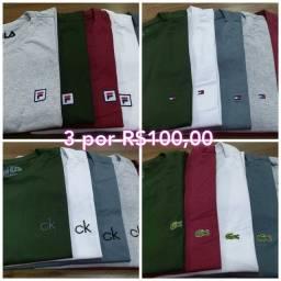Camisetas Top fio 30, kit 3 por 100,00