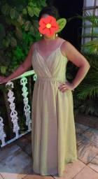 Vestido de festa lurex dourado