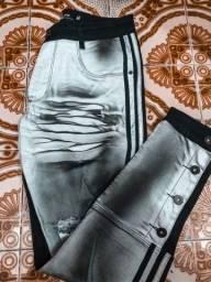 Calça jeans slim destroyed em degrade