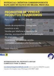 Título do anúncio: Promotor de vendas para a cidade de Lençóis-SP