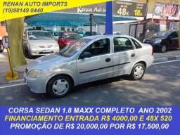 Título do anúncio: corsa sedan maxx 1.8 completo ano 2002 financiamos e parcelamos no cartão