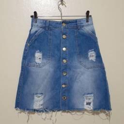 Título do anúncio: Saia jeans de botão destroyed