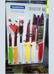 Jogo de Facas Tramontina Plenus Cozinha Colorido 6 Peças - novo