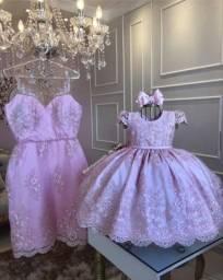 Vestido rosa mãe e filha