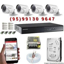 Kit 4 câmeras instalação e manutenção
