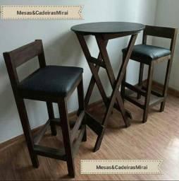 Título do anúncio: Conjunto de mesa madeira bistro